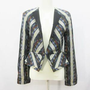 未使用品 Kunzi 民族 ジャケット アウター 1フック 総柄 エスニック柄 綿 コットン100% ベトナム製 (S相当) 黒 ブラック系 マルチカラー