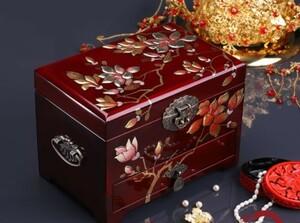多層漆器 実木質 宝石箱 結婚アクセサリーケース メイクジュエリーボックス ウェディングギフト