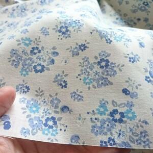はぎれ生地(209) 約25㎝×110㎝ 綿100 ブルー いちごチェリー 花柄 美品