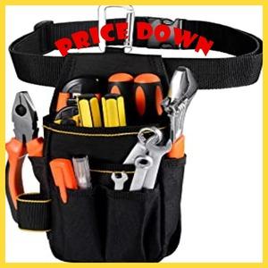 ブラック [VOW&ZON] 工具入れ 腰袋 工具袋 小物入れ 作業袋 ウエストバッグ カラビナフック ベルト付 多機能