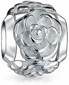 Silver-Tone [ブリングジュエリー] スターリングシルバー925製 白薔薇の彫刻チャーム ヨーロピアンスタイル ビーズ