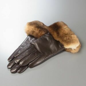 GI6193▽イタリア製*Gala Gloves/ガラ グローブス*オリラグ/ラビットファー*ラムレザーグローブ*内:ウールニット*手袋*ブラウン*レディース