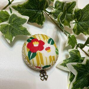 ハンドメイド 和柄 椿の花柄 メジャー マカロンメジャー 裁縫道具 巻尺 教材 文具 事務用品 マイバッグ マイデスクに