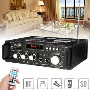 デジタルオーディオアンプ 最大出力600W(300W+300W) ハイパワー 高音質 重低音調整 USB/SD/Blutooth HiFi マイク対応