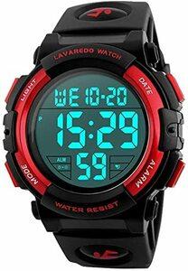 2-レッド 子供腕時計 男の子 デジタル腕時計 ボーイズスポーツウォッチ アウトドア多機能 50m防水 アラート 日付曜日表示