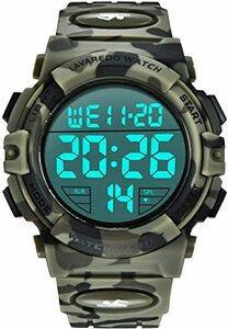 6-迷彩 グリーン 腕時計 メンズ デジタル スポーツ 50メートル防水 おしゃれ 多機能 LED表示 アウトドア 腕時計