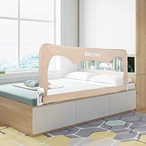 カーキ ベッドフェンス ベッドガード ベビーベッド ガード 幅180cm 無添加素材 布団ずれ 蹴り出し お子様のベッドからの