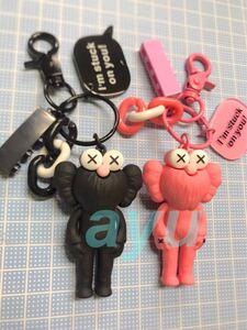 セサミ×カウズ 【黒とピンク】キーホルダー 可愛い セサミストリート KAWS キーリング キーチェーン バッグホルダー 韓国