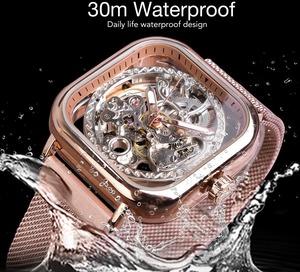 W01メンズ高級腕時計 41mm 機械式 自動巻き 希少 紳士ウォッチ 夜光 防水 スケルトンデザイン スクエア カジュアル ローズレッド