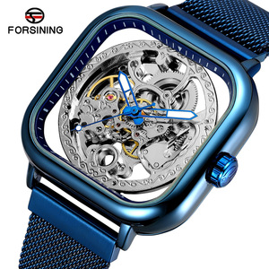 W02メンズ高級腕時計 41mm 機械式 自動巻き 希少 紳士ウォッチ 夜光 防水 スケルトンデザイン スクエア カジュアル 青