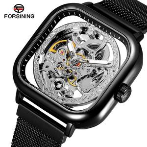W05メンズ高級腕時計 41mm 機械式 自動巻き 希少 紳士ウォッチ 夜光 防水 スケルトンデザイン スクエア カジュアル 黒シルバー