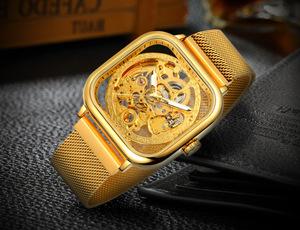 W04メンズ高級腕時計 41mm 機械式 自動巻き 希少 紳士ウォッチ 夜光 防水 スケルトンデザイン スクエア カジュアル ゴールド