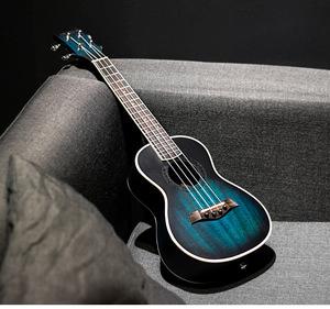 23インチ 4弦 ウクレレ コンサートウクレレ ギター ハワイアン マホガニー ブルー 弦楽器 ミニギター