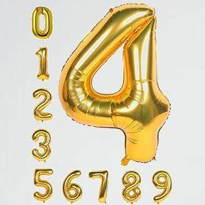 新品 未使用 ゴ-ルデン 100cm 8-T1 子供 大人兼用 誕生日 数字 , 数字4 誕生日 パ-ティ- 飾り風船 0-9 デコレ-ション装飾 40インチ