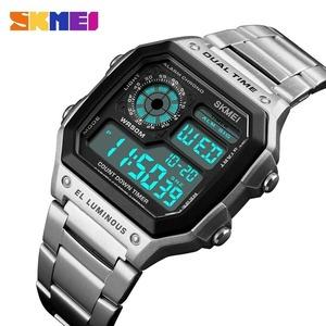 ♪【送料無料】SKMEI メンズスポーツウォッチ カウントダウン 防水時計 ステンレス 鋼ファッション デジタル 腕時計 男性用 時計