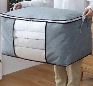 布団衣類収納袋 ケース 活性炭消臭 持ち手付き 不織布製 防虫防カビ除湿 グレー