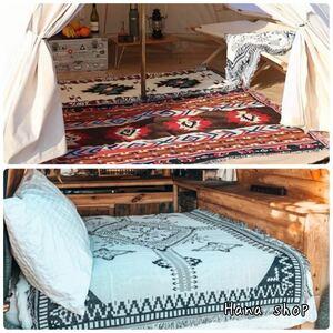 アウトドア キャンプ ブランケット ラグマット キリム オルテガ 民族柄 北欧柄 韓国風グランピング テント