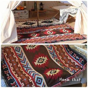 【フォロー割あり】アウトドア キャンプ ブランケット カーペット ラグマット 赤キリム柄 オルテガ柄 ネイティブ 柄 テントにも