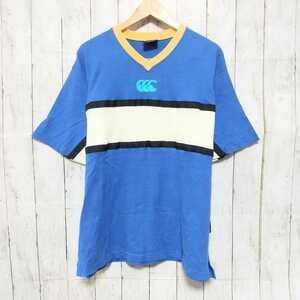 F2733UL◇Canterbury of New Zealand カンタベリー◇サイズL Tシャツ ブルー メンズ 綿100% ロゴ 古着 ヴィンテージ プリント マルチカラー