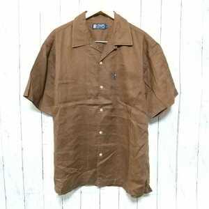 F2740UL◇RALPH LAUREN CHAPS ラルフローレン チャップス◇サイズL シャツ 開襟シャツ ブラウン メンズ 麻100% リネンシャツ ヴィンテージ