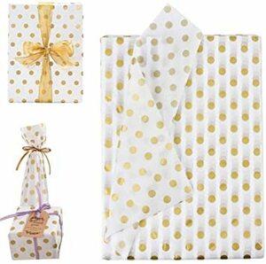 COOLBOTANG 包装紙 お花/プレゼント/ギフト 50枚 ラッピングペーパー 薄葉紙 ゴールデンドットパターン 70 x