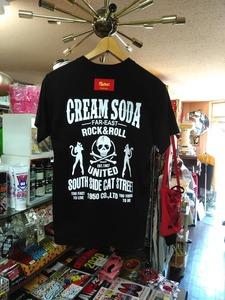 Lサイズクリームソーダ UNITED Tシャツ黒!検索クリームソーダ立ちネコロカビリーキャロル怪人二十面相ピンクドラゴンブラックキャッツ