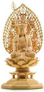 地蔵菩薩 仏壇仏像 木彫り 置物 柘植の木 飛天光背 八角台座 祈る 厄除け(高さ17cm×巾8.5cm×奥行8.5cm)