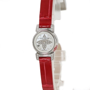 【3年保証】 ルイヴィトン タンブール ビジュ Q151J 純正ダイヤ シェル モノグラムフラワー クオーツ レディース 腕時計