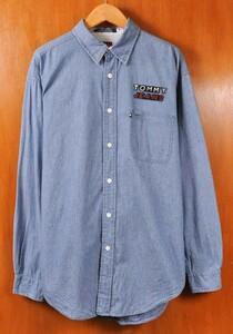 ビッグサイズ TOMMY JEANS TOMMY HILFIGER トミーヒルフィガー シャンブレーシャツ 立体ロゴ XL相当(19963