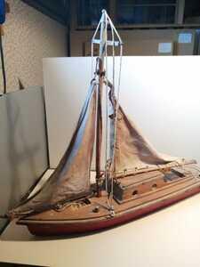 木製ヨット模型 1930年頃 オランダ LUDY 長さ55㌢ 船舶模型 アンティーク ヨット 帆船 船大工 大工 玩具 O87b3