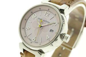 LVSP3-10-22 ルイヴィトン 腕時計 Q1216 タンブール デイト クォーツ 約34g レディース シルバー 文字盤ピンク 動作未確認 ジャンク