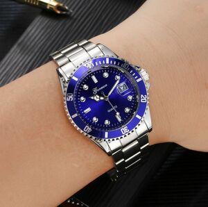 ■送料無料■新品♪日付表示ミリタリービジネス腕時計GONEWAブルー