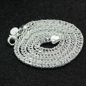 表面シルバー925 純銀コーティング 白銀の輝き スターリングシルバー 幅5mm 長さ50cm チェーンネックレス