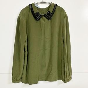 PRADA プラダ シルクブラウスシャツ 38 グリーン