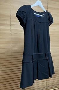 【激安 国内正規品】BURBERRY BLUE LABEL バーバリーブルーレーベル 半袖 ワンピース パフスリーブ プリーツスカート 38 ブラック USED