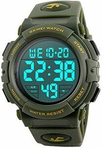 5-グリーン 腕時計 メンズ デジタル スポーツ 50メートル防水 おしゃれ 多機能 LED表示 アウトドア 腕時計(グリーン)
