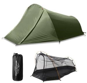 新品 2人用 キャンプ サイクリング ドームテント アーミーグリーン