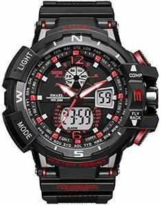 ブラック+レッド 腕時計 メンズ SMAEL腕時計 メンズウォッチ 防水 スポーツウォッチ アナログ表示 デジタル  多機能 ミ