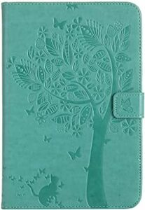 グリーン DINGXIN iPad Mini 4 ケース 人気 おしゃれ かわいい 猫 蝶々 手帳型カバー PUレザー 耐衝撃