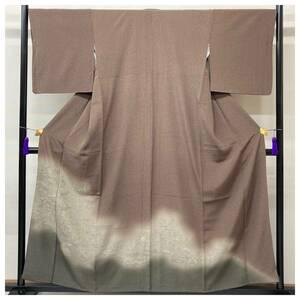 特選 スワトウ刺繍 花模様 訪問着 特選 正絹 裄67 身丈158 紋無 茶褐色