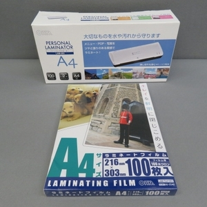 S141★OHM パーソナルラミネーター LAM283 A4サイズOK&フィルムA4 100枚 未使用★A