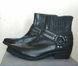 ウエスタンブーツ 美品 黒 サイズ25.5cm ショートウエスタンブーツ 刺繍 リングブーツ