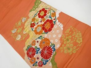 780090# 【1円~】アンティーク 菊・牡丹・梅模様織り出し名古屋帯(着用可)