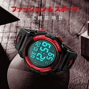 限定価格!3-レッド 腕時計 メンズ デジタル スポーツ 50メートル防水 おしゃれ 多機能 LED表示 アウトドア 腕時KGW6