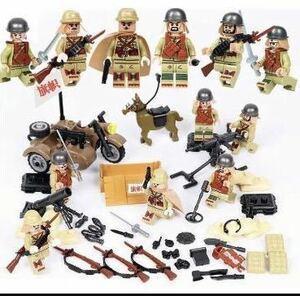 LEGO レゴ 互換品 ミニフィグ 日本軍6体・装備品パーツ一式(約100個) DJ949