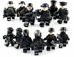 ミニフィグ 黒色特殊部隊 12体セット 武器付き レゴ 互換 LEGO ミニフィギュア ブロック 隊長 隊員 スナイパー 爆弾処理班DJ719