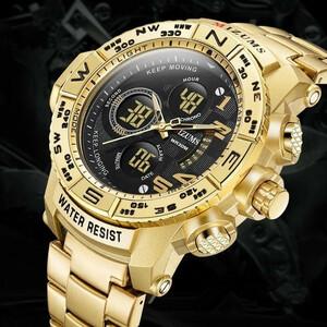 Mizums ブランドクォーツ時計男性のスポーツは、男性鋼バンド軍用時計防水ゴールド LED デジタル腕時計レロジオ MasculinoDJ1082