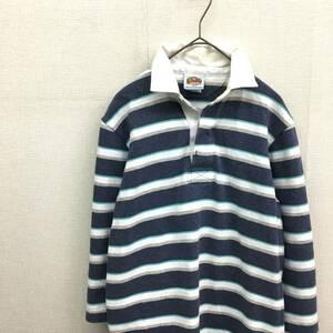 EZ2165●BARBARIAN 7分袖 ラガーシャツ●ブルー/ホワイト ポロシャツ バーバリアン