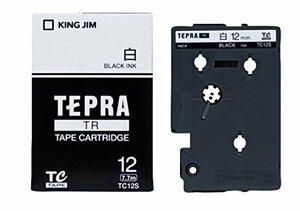 黒文字 12mm キングジム テープカートリッジ テプラTR 12mm TC12S 白