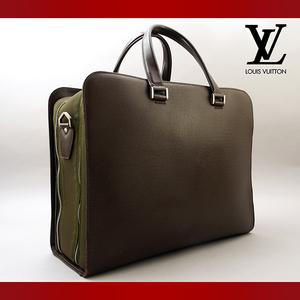 【極美品 使用わずか】 LOUIS VUITTON ルイヴィトン タイガ ネフスキー ビジネスバッグ ブリーフケース 書類かばん グリズリ ブラウン(001)